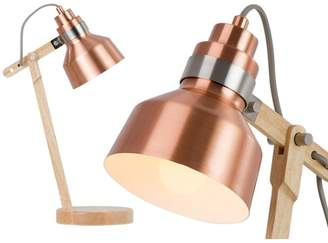 Brett Table Lamp, Wood and Brushed Copper