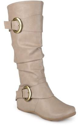 Brinley Co. Womens Wide-Calf Buckle Knee-High Slouch Boot