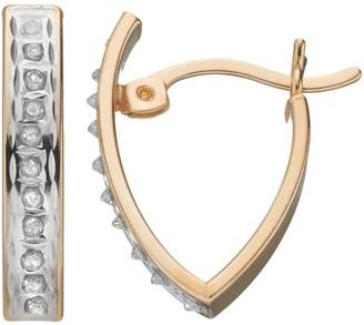 Mystique Diamond 18k Gold Over Silver V Hoop Earrings