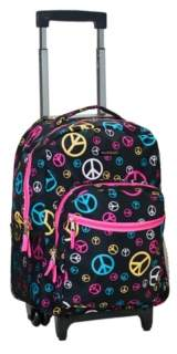 """Rockland Peace Signs 17"""" Rolling Backpack"""