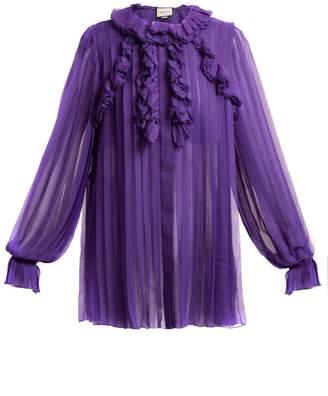 Gucci Pleated ruffle-trimmed silk-chiffon blouse