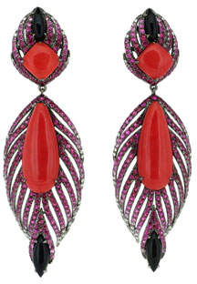 Wendy Yue 18k White Gold Multi-Stone Feather Earrings
