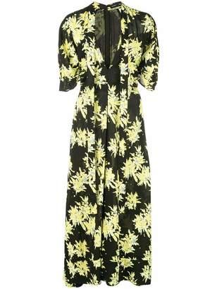 Proenza Schouler V Neck Floral Print Tie Midi Dress