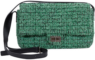 One Kings Lane Vintage Chanel Green Tweed Crossbody Flap Bag - Vintage Lux