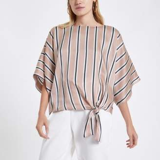 River Island Womens Pink stripe tie knot top