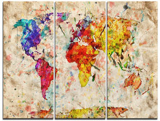 DesignArt Vintage World Map Watercolor - 3 Piece Graphic Art on Wrapped Canvas Set