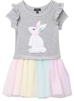 Zunie Ruffle Drop Sleeve Dress (Toddler & Little Girls)