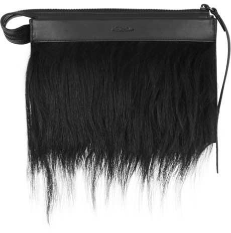 3.1 Phillip Lim Depeche small goat hair-trimmed leather clutch