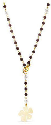 Steve Madden Women Brown Wooden Simulated Pearl Flower Gold-Tone Beaded Toggle Necklace