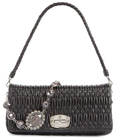 Miu MiuMiu Miu Medium Swarovski Crystal Chain Leather Shoulder Bag - Beige
