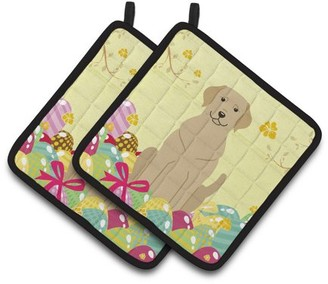 Caroline's Treasures Easter Eggs Yellow Labrador Pair of Pot Holders