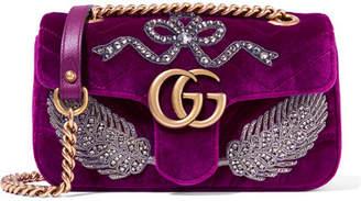 Gg Marmont Small Embellished Velvet Shoulder Bag - Plum