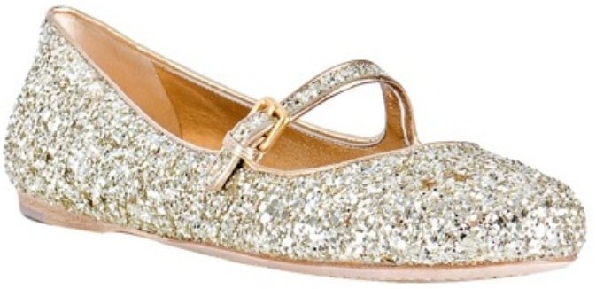 Miu Miu gold glitter leather mary-jane flats