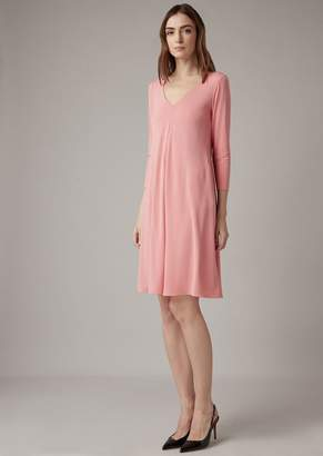Giorgio Armani Matte Stretch Interlock Dress With A Crepe Finish