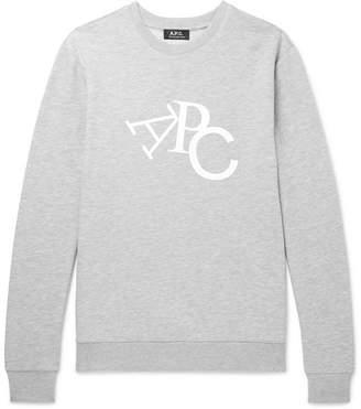 A.P.C. Logo-Print Mélange Loopback Cotton-Blend Jersey Sweatshirt