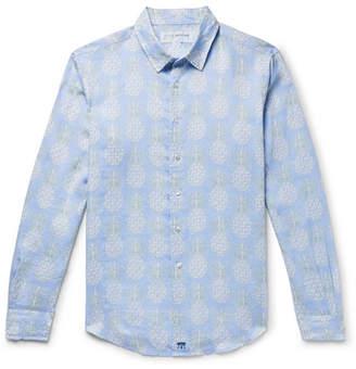 Mustique Pink House Pineapple-Print Linen Shirt