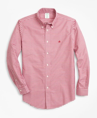 Brooks Brothers Non-Iron Milano Fit Heathered Gingham Sport Shirt