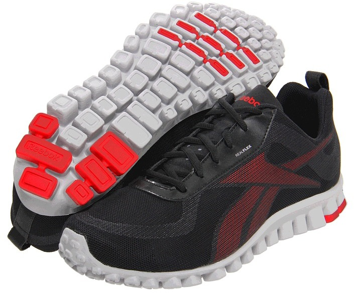 Reebok - RealFlex Scream (Black/Excellent Red/Zinc Grey) - Footwear