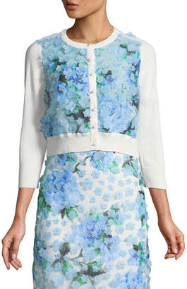 Karl Lagerfeld Paris Floral-Applique Cropped Cardigan