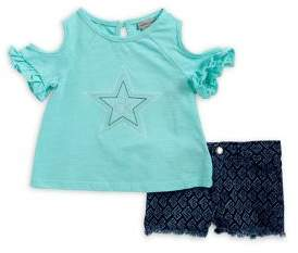 Calvin Klein Jeans Little Girl's Two-Piece Cold-Shoulder Top and Shorts Set