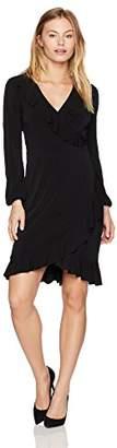 London Times Women's Petite Solid Matte Jersey Long Sleeve Ruffled Faux Wrap