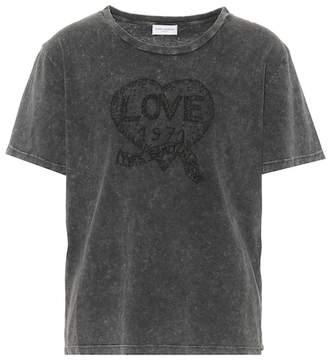 Saint Laurent Embroidered cotton T-shirt