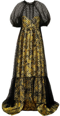 Erdem Neave Floral-jacquard And Flocked Tulle Gown - Yellow