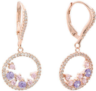 Rose Gold Plated Sterling Silver Cz Open Circle Earrings