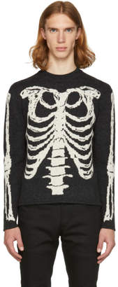 Saint Laurent Grey Skeleton Crewneck Sweater