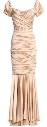 Dolce & Gabbana Ruched Silk-Blend Satin Gown