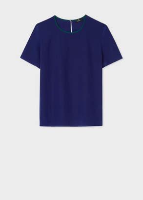 Paul Smith Women's Cobalt Blue Silk Top With Contrasting Trim