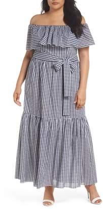 Chelsea28 Off the Shoulder Gingham Maxi Dress