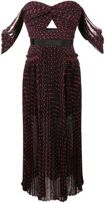 Self-Portrait strapless polka dot dress