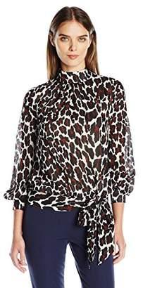 Trina Turk Women's Farrington Heiress Cat Silk Georgette Long Sleeve Top