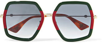 Gucci Oversized Square-frame Metal Sunglasses - Green