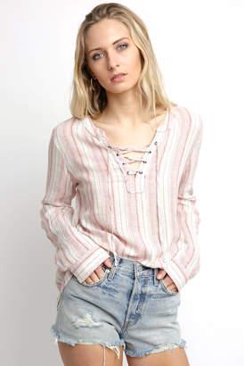 Sanctuary Desert Stripe Tommie Lace Up Shirt