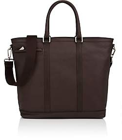 Barneys New York MEN'S LEATHER TOP-ZIP TOTE BAG-DK. BROWN