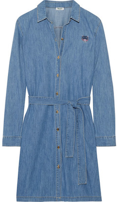 KENZO - Embroidered Washed-denim Shirt Dress - Mid denim $400 thestylecure.com
