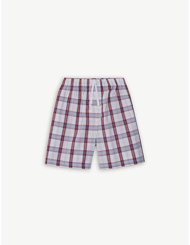 The Little White Company Boating check poplin pyjama shorts 7-12 years