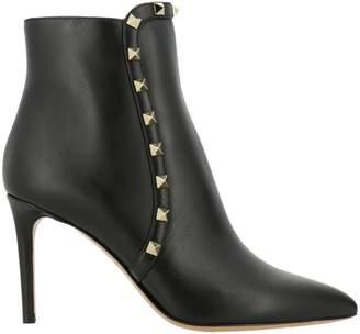 Valentino GARAVANI Heeled Booties Rockstud Leather Ankle Boot With Mini Metal Studs And Zip