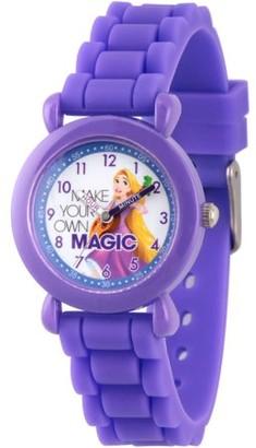 Disney Princess Rapunzel Girls' Purple Plastic Time Teacher Watch, Purple Silicon Strap