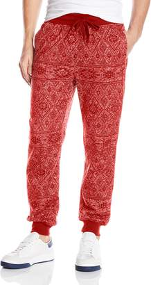 Southpole Men's Jogger Pants In French Terry with All Over Aztec Patterns