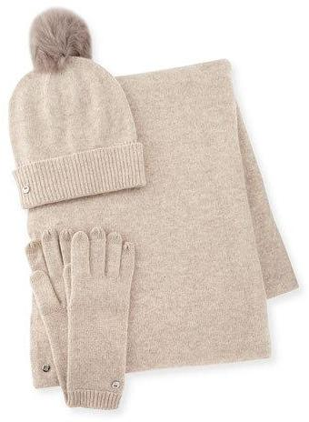 UGG Wool-Blend Gloves, Beanie & Scarf, Natural