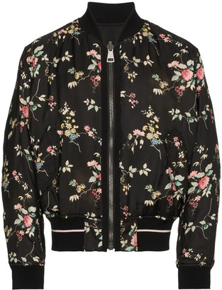 Haider Ackermann freesia floral print and black reversible bomber jacket