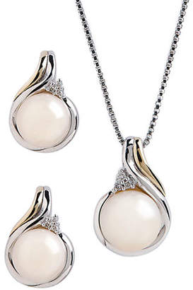 Tag Heuer FINE JEWELLERY 14K Yellow Gold and Sterling Silver 0.36ct Diamond and Pearl Earring and Pendant Set