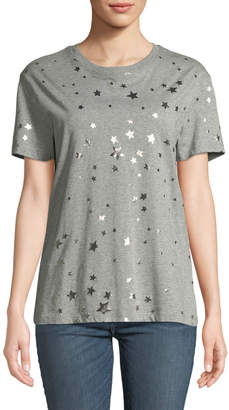 RED Valentino Crewneck Short-Sleeve Cotton T-Shirt w/ Metallic Stars