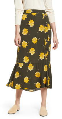 Madewell Fall Flowers Ruffle Hem Midi Skirt