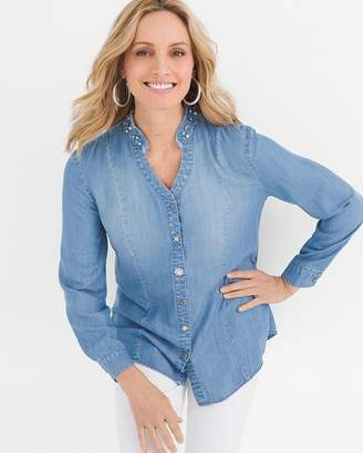 ... Chico s Chicos Embellished-Collar Denim Shirt fc680c1ebcdb9