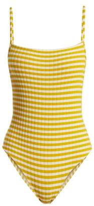 Solid & Striped The Chelsea Striped Ribbed Swimsuit - Womens - Yellow White