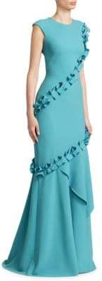 Theia Ruffled Crepe Gown